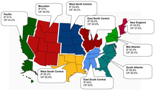 Inpatient IP And Outpatient OP MRSA Rates According Openi - Us census map regions