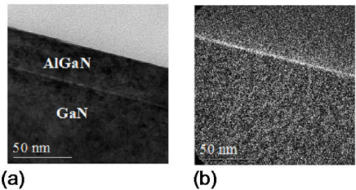 TEM images of the oxidized sample. Bright field TEM analysis (a) and EFTEM (b) for oxygen on a sample oxidized by RTA at 900°C for 10 min.