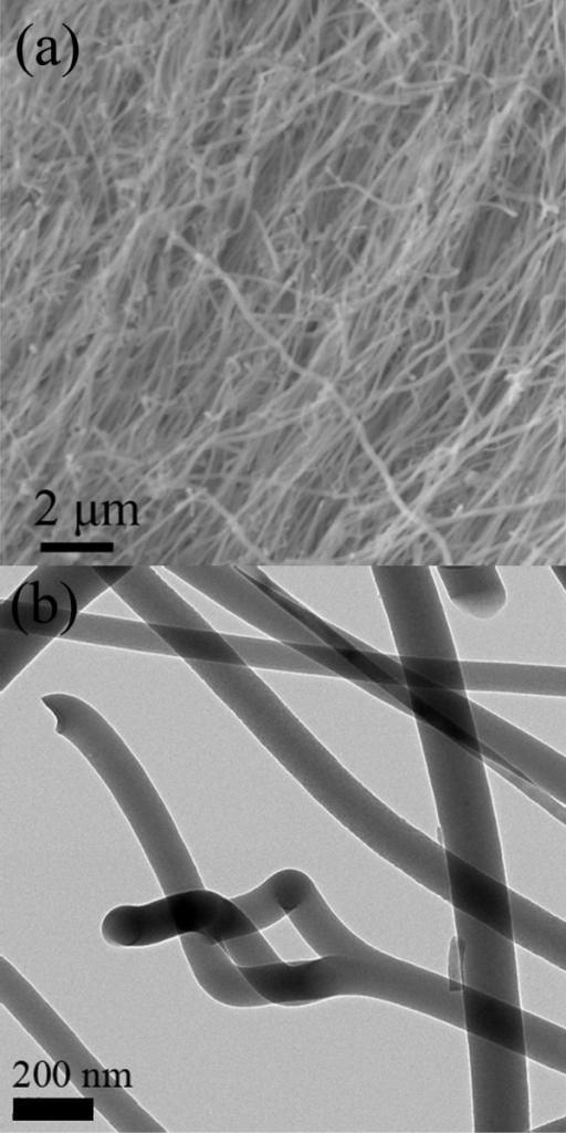 SEM and TEM images of Si-O-N nanowires. (a) A typical SEM image of the as-grown Si-O-N nanowires. (b) A typical TEM image of Si-O-N nanowires.