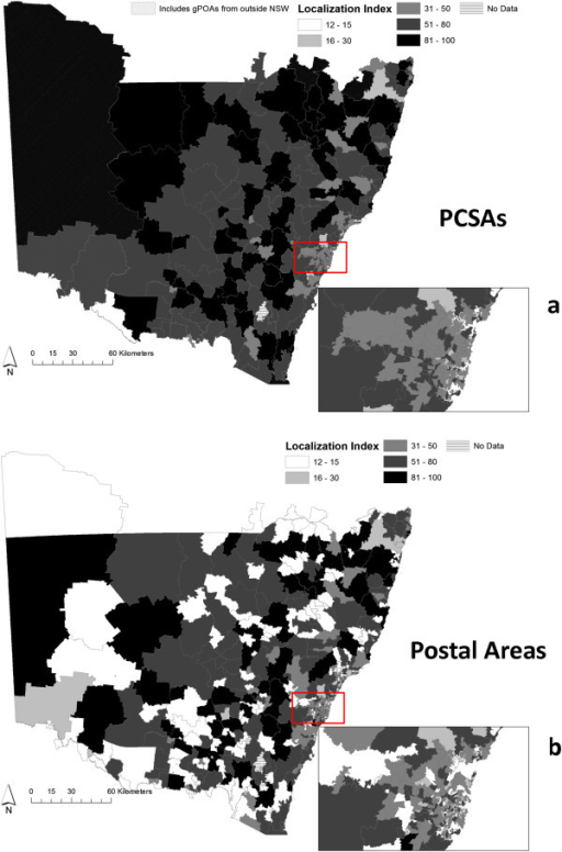 PCSAs have higher localization than POAs. Panel a) Localization at PCSAs Panel b) Localization at Postal Areas. The insets display Localization Indices in Sydney.