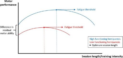 Hypothetical relationship between training intensity and outcomes in chronic hemiparetic stroke.This figure illustrates the modulation of the optimum session length/training intensity by residual recovery levels. Two assumptions are made. Firstly, as session length increases, performance also increases, until it reaches its peak; increasing session length further, however, results in performance deterioration, which presumably reflects the impact of fatigue. Secondly, in stroke survivors with low-functioning hemiparesis (red line), performance is not only lower in general, but critically, the optimum training intensity is reached earlier than in those with high-functioning hemiparesis (blue line). Optimum session length/training intensity: Mostly determined by both the level of residual recovery and the fatigued status an individual achieves. Of note, the latter is critically influenced by the first. Investigations of dosage effects in motor rehabilitation should, therefore, not only carefully consider the level of residual function, but also take measures of fatigue into consideration.