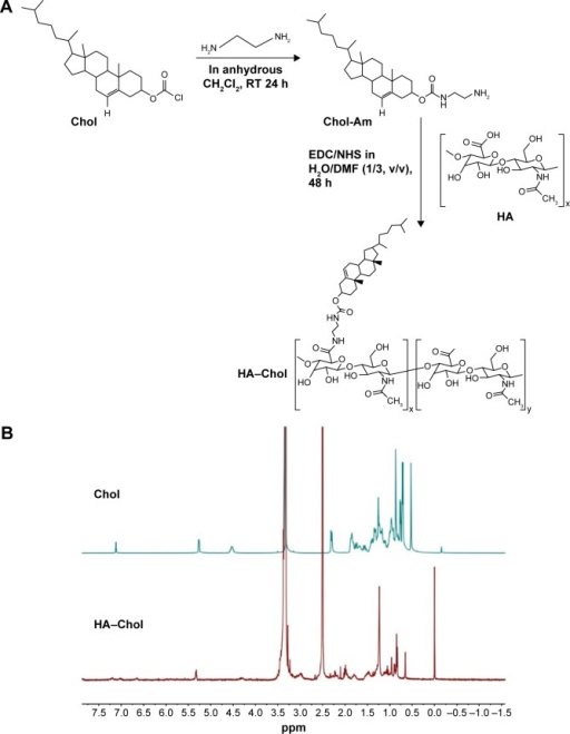 Synthesis of HA-Chol conjugation and its identification through NMR.Note: (A) Synthetic scheme of HA–Chol. (B) 1H NMR spectrum of Chol and HA–Chol conjugates. HA–Chol was dissolved in DMSO-d6 and analyzed by 1H NMR using Bruker Avance III 400 MHz NMR.Abbreviations: Chol, cholesterol; Chol-Am, cholesteryl amine; CH2Cl2, methylene chloride; DMF, N,N-dimethylformamide; DMSO-d6, dimethyl sulfoxide-d6; EDC, 1-(3-dimethylaminopropyl)-3-ethylcarbodiimide; h, hours; HA, hyaluronic acid; HA–Chol, hyaluronic acid–cholesterol conjugates; NHS, N-hydroxysuccinimide; NMR, nuclear magnetic resonance; RT, room temperature.