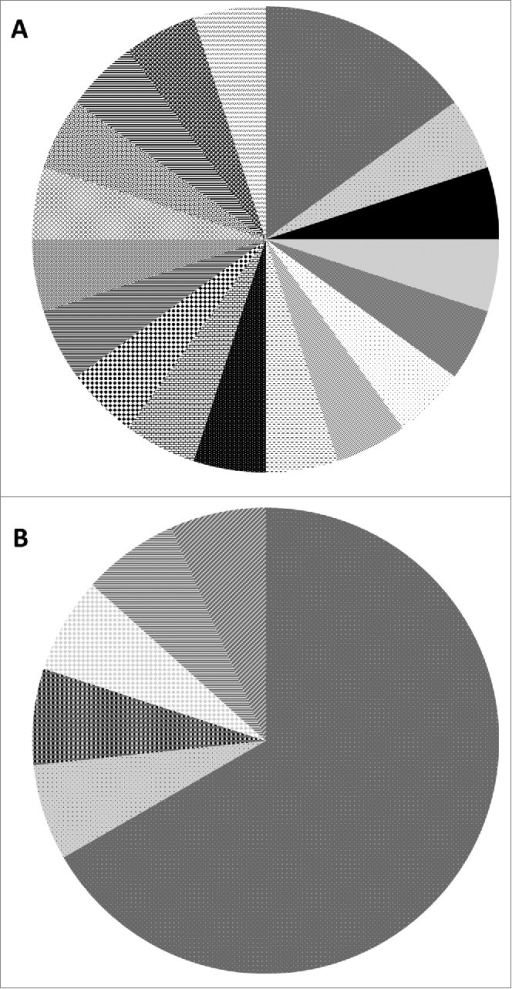 mtCOI haplotype diversity for Southern (A) and Northern (B) subspecies. Shared patterns between pies in the chart represent identical haplotypes.