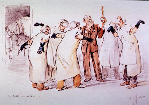<p>A physician holds up an award for a group of physicians to admire.</p>