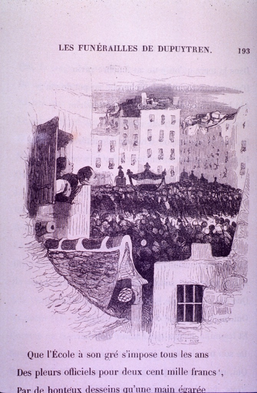 <p>A man and two women look out their windows to view the funeral procession of Guillaume Dupuytren in the street.</p>