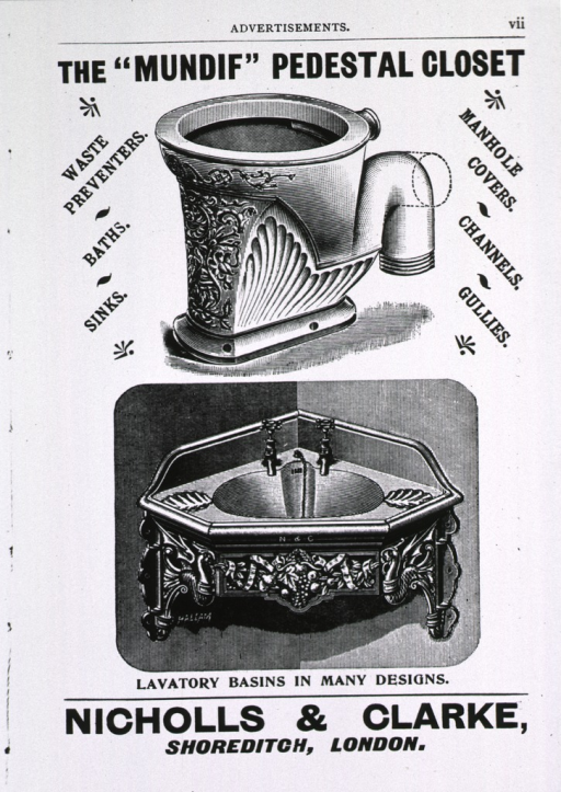 <p>Advertisement for various Nicholls &amp; Clarke products two of which are illustrated, a toilet and a sink.</p>