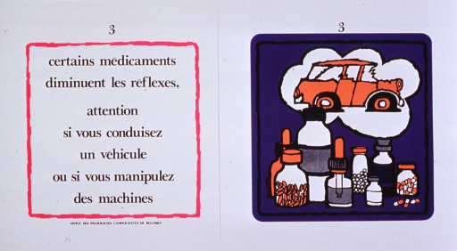 <p>White and purple poster with black lettering.  Poster consists of one print bearing the title and one print bearing an illustration.  The prints are similarly numbered, as if part of a series.  The illustration depicts a car with flat tires and a crumpled front end, along with several containers of medicine.  Publisher information at bottom of print with title.</p>
