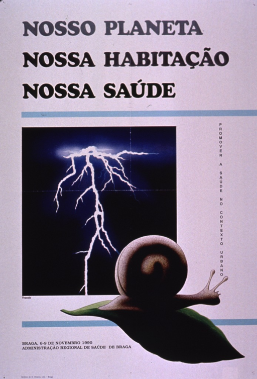 <p>Predominantly white poster with black and gray lettering.  Title at top of poster.  Visual images are color illustrations of a lightning strike in a night sky and a snail on a leaf.  Note on right side of illustrations deals with promoting health in an urban context.  Poster appears to announce a conference held Nov. 1990.  Publisher information in lower left corner.</p>