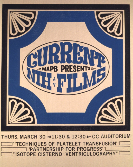 <p>A light gray background shows the advertisement for the NIH films in turquoise, black and light gray.  The advertisement is text only.  The date of Thursday, Mar. 30 is given along with the time and location for the viewing of the films.</p>
