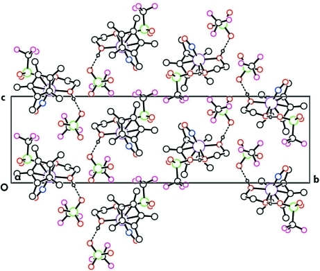 A packing diagram of the title compound, showing the columns of Ru-complex and trifluoromethanesulfonate anion (coming out of the plane) along the a-axis direction. Only hydrogen atoms involved in H-bonding are present. Hydrogen bonds are shown as dashed lines.