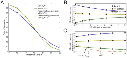 How the Relationship Between Noise and Threshold Level Affect the Decision.(A) Rate of lysogeny across different threshold values for basic model. Blue line: MOI = 1, V = 1; Green line: MOI = 2, V = 2; Orange dashed line: ; Pink and yellow dashed lines: Theoretical approximations for the rate for MOI = 1, V = 1 and MOI = 2, V = 2 respectively. (B) How changing the level of noise for same MOI affects the outcome at a high threshold (green line,  above the mean), threshold at  (yellow line) and low threshold (blue line,  below the mean). (C) How the MOI affects the rate of lysogeny at a high threshold (green line,  above the mean), threshold at  (yellow line) and low threshold (blue line,  below the mean). The phenomenological rate  is shown for a typical unit cell volume using . (orange dashed line).