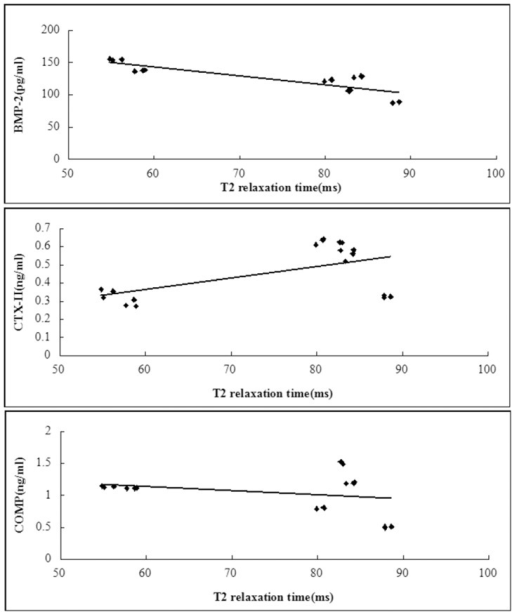 Scattergrams plotting individual serum biomarker concentration against T2 relaxation time values.For T2 relaxation times, there was a linear relationship with BMP-2 and CTX-II, except COMP(A, R2 = 0.71, P<0.001; B, R2 = 0.32, P = 0.014; C, R2 = 0.07, P = 0.305). N = 18.