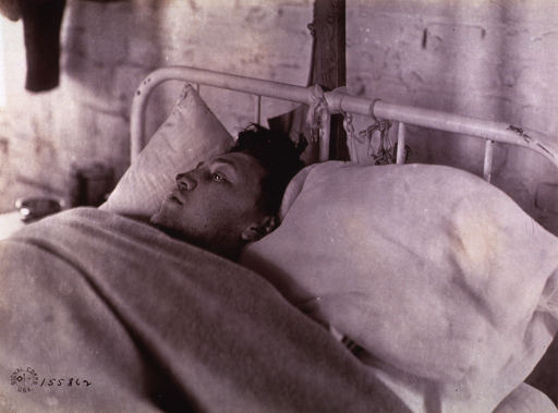 <p>Wounded men at an unidentified base hospital in France during World War I.</p>