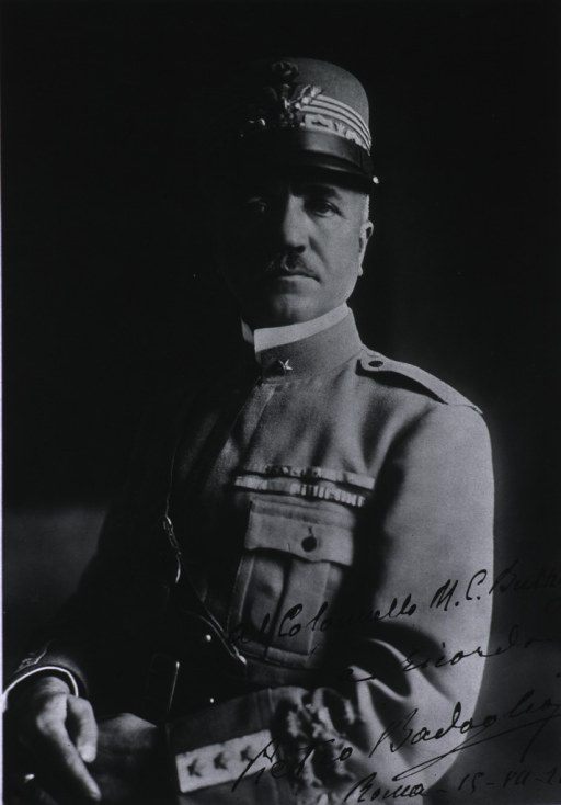 <p>Half-length, full face, body to left, hands clasped, wearing uniform and cap.</p>