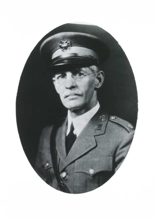 <p>Head and shoulders, left pose, full face; wearing uniform and cap; in oval.</p>