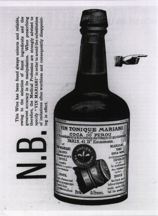 <p>Advertisement for &quot;Vin Mariani,&quot; a popular tonic containing cocaine.</p>