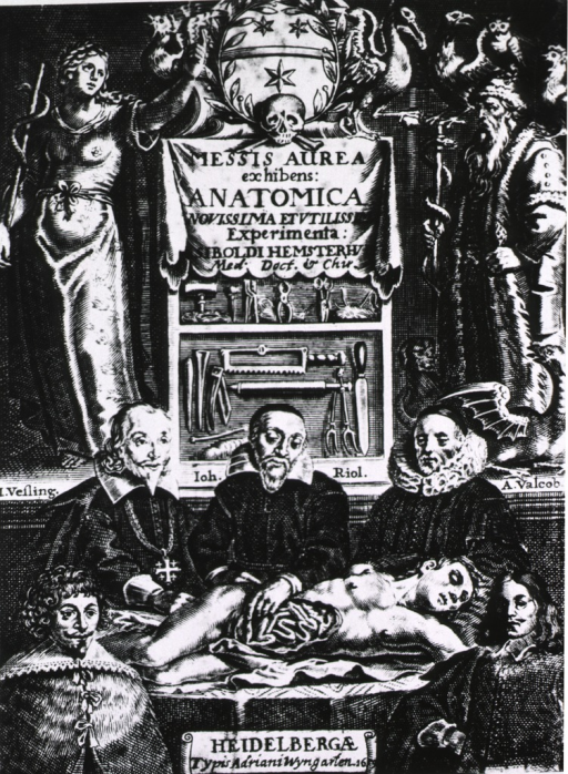 <p>Dissection scene showing Vesling, Riolan, Valcob [sic], looked over by Medica and Aesculapius.</p>