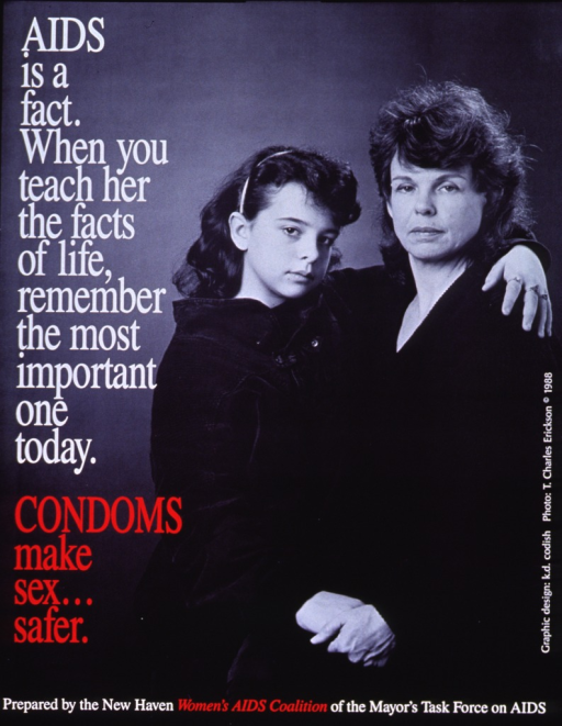 <p>Predominantly black and white poster with white and red lettering.  Title on left side of poster.  Visual image is a reproduction of a black and white photo of a mother and her school-age daughter.  The daughter has one arm around the mother's shoulders.  Publisher information at bottom of poster.</p>