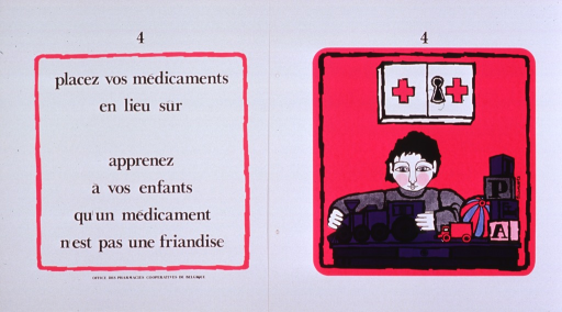 <p>White and fuchsia poster with black lettering.  Poster consists of one print bearing the title and one print bearing an illustration.  The prints are similarly numbered, as if part of a series.  The illustration depicts a young boy playing with his toy train and a locked medicine chest high on the wall behind him.  Publisher information at bottom of print with text.</p>