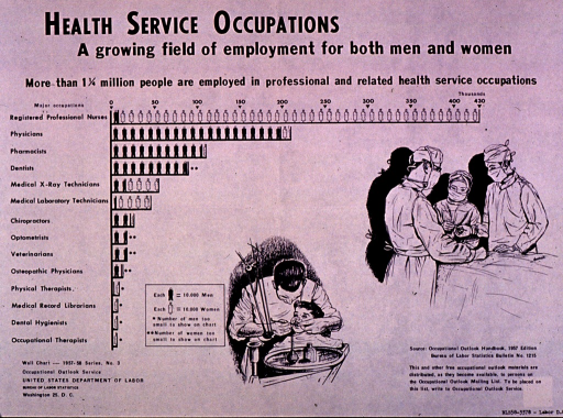 <p>Predominantly white poster with black lettering.  Title and note at top of poster.  Visual images are a chart and two illustrations.  The chart lists several health professions and uses a symbolic person to represent each 10,000 people employed in that field.  There are separate symbols for men and women.  Illustrations depict a dentist working on a child's mouth and three people in surgical gowns and masks.  Series and publisher information in lower left corner.  Source note in lower right corner.</p>