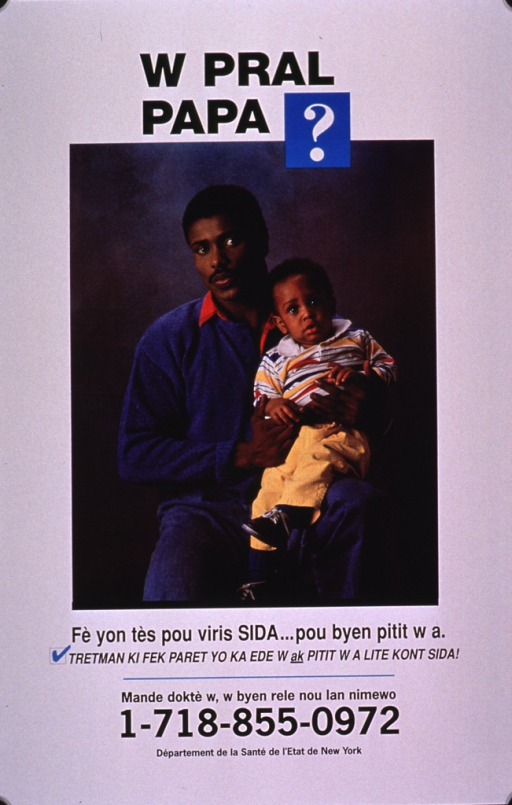 <p>White poster with black lettering, illustrated with a color photo reproduction of an African American man holding a baby. Publishing and contact information are at the bottom of the poster.</p>