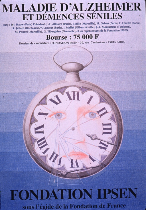 <p>Predominantly blue poster with blue lettering.  Title at top of poster.  Additional text below title announces the jury for a competition, amount of the prize, and address for applications.  Visual image is an illustration of a pocket watch.  The glass and hands of the watch are broken and a face appears in the center.  Publisher and sponsor information at bottom of poster.</p>