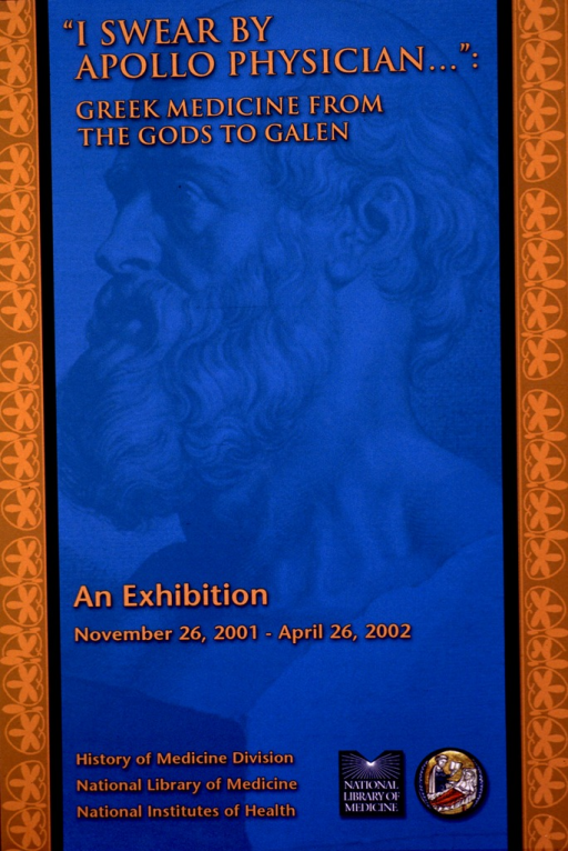 <p>Blue poster with light brown and orange border on both sides. A faint  sculpted bust in profile of Apollo provides the background for the poster. The title and remaining information are in orange print. The National Library of Medicine and History of Medicine Division logos appear at the bottom of the poster.</p>