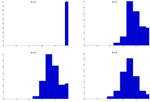 An example of number of cluster prediction with the use of ME. Consider the computation of the ME algorithm on the dataset of Fig. 2(a). The histograms plotting the SIM values distribution for increasing values of k are shown above. The transition allowing for the prediction of k* takes place at k = 2 for a correct prediction of k* = 2.
