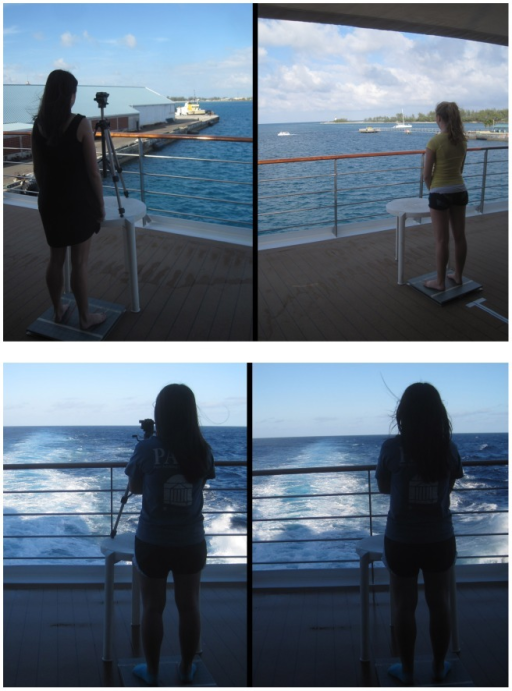 Setting and conditions for body sway testing.A. Viewing of the nearby target and the horizon at the dock. B. Viewing of the nearby target and the horizon at sea.