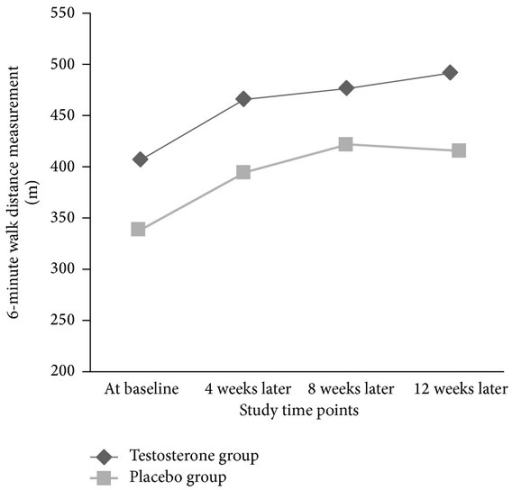 Trend of the changes in 6-minute walk distance (6MWD) parameter (in meter) in intervention and placebo groups.