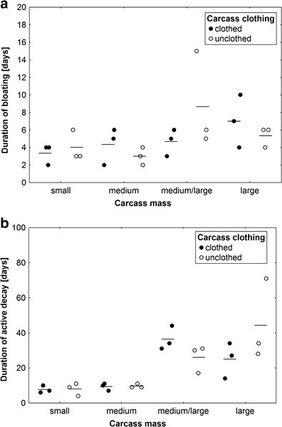 The effect of carcass mass and carcass clothing on the duration of bloating (a) and the duration of active decay (b). Carcass mass: small 5–15 kg, medium 15.1–30 kg, medium/large 35–50 kg and large 55–70 kg. Horizontal lines indicate the mean, while open and closed circles represent raw data