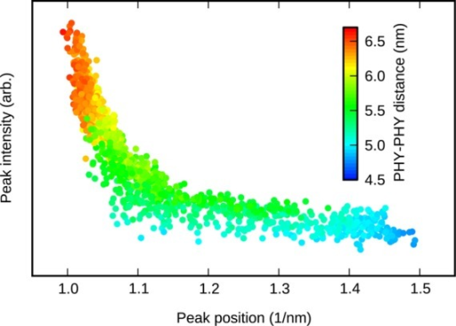 Magnitude and position of the ΔS peak at q ≅ 1/nm for various PHY−PHYdistances. Thedata are taken from the trajectories presented by Takala etal.10