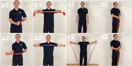 Shows the three primary elastic tubing exercises used during the intervention. Exercise a shows shoulder external rotation start (a1) and end (a2) and exercise b shows shoulder squeeze start (b1) and end (b2). Finally, exercise c shows lateral raise start (c1) and end (c2) and exercise d shows wrist extension start (d1) and end (d2).