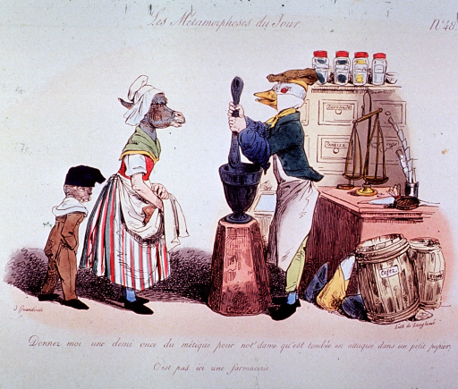<p>Interior view of a pharmacy; a duck (pharmacist) is using a mortar and pestal, behind him on a counter is a scale, and against the wall is a cabinet with jars on top; a donkey (woman) and a dog or cat (boy) are standing before the pharmacist.</p>