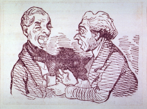 <p>Half-length view of two men.  The one on the left has his mouth open to show his rearranged teeth.</p>