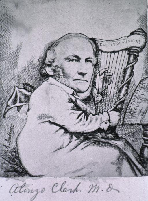 <p>Full-length portrait, seated, wearing wings and playing harp.</p>