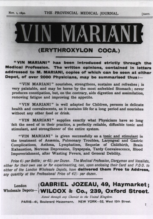 <p>Two page advertisement for &quot;Vin Mariani,&quot; a popular tonic containing cocaine.</p>