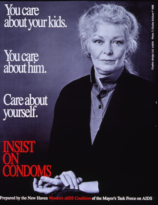 <p>Predominantly black and white poster with white and red lettering.  Title on left side of poster.  Visual image is a reproduction of a black and white photo of a gray-haired woman sitting with her hands crossed on lap.  Publisher information at bottom of poster.</p>