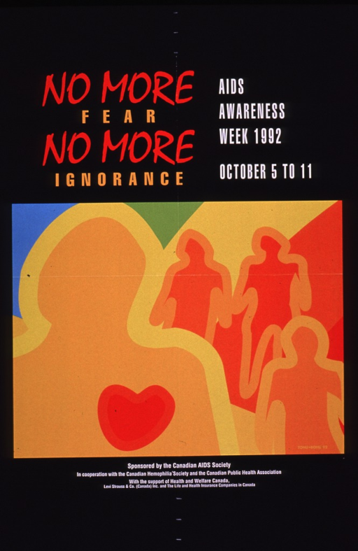 <p>Predominantly orange and black poster with multicolor lettering.  Title and note at top of poster.  Visual image is an abstract illustration depicting four people.  A symbolic heart is on the chest of the person in the foreground.  Publisher and sponsor information at bottom of poster.</p>