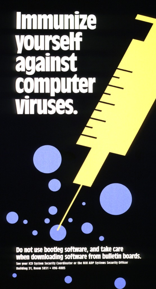 <p>Black poster with white print and a large yellow needle and syringe coming down diagonally across the poster.  There are blue circles, various sizes, one of which is the target of the needle and syringe.  The location and phone number for Security are also given.</p>