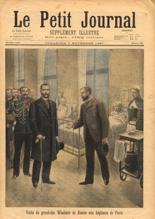 <p>The grand duke is shown walking through a hospital ward.  He is followed by dignitaries.</p>