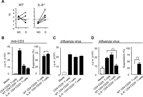Influenza-specific suppressor activity in WT and IL-6−/− mice.Mice were infected i.n. with 20 HAU of influenza virus (H17). Eight weeks after infection, splenocytes from WT and IL6−/− mice were harvested. (A) Purified CD4+ T cells were tested for proliferation against inactivated H17 before (ND) or after (D) depletion of CD25+ T cells. Influenza-specific proliferation in both populations was measured by [3H]-thymidine incorporation at day 5. Each symbol represents an individual mouse and the lines join responses in undepleted (ND) and CD25-depleted (D) CD4+ T cell populations. A stimulation index greater than 2 was considered a positive response. (B) CD4+CD25+ cells from WT and IL-6−/− mice, infected 2 or 8 weeks previously, were isolated from splenocytes and their suppressive capacity was evaluated by incubation at a ratio of 1∶1 with CD4+ T cells from a WT mouse infected 2 weeks previously with H17 influenza virus. The cells were stimulated with either APCs exposed to 1 µg/ml anti-CD3 mAbs (B) or influenza infected APCs (C and D). Proliferation was measured by [3H]-thymidine incorporation at day 5. CD4+CD25+ cells from 4 individual WT and IL-6−/−mice were analyzed and each bar represents the mean value±SEM of each group. Statistical significance was evaluated using the Students t test.