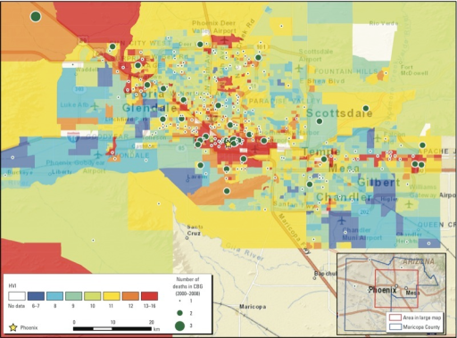 HVI scores (using a method modified from Reid et al. 2009) mapped for 2,081 census block groups (CGBs) in Maricopa County, Arizona. Higher scores represent higher vulnerability. The map inset in the lower right corner indicates the urbanized area of Maricopa County (red box) shown in the larger map. The county, which also contains a much larger area of uninhabited desert and sparse settlement, is outlined in blue. The urbanized area covers all the cities and all but one of the major towns in the county. Residences of only four people who died from heat exposure were located outside the urbanized area (green circles in inset).