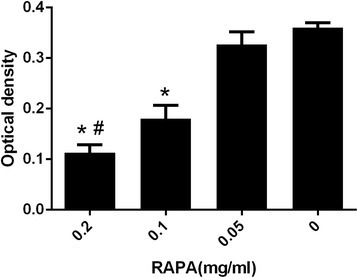The collagen optical density in each group. *P < 0.05, compared with the control group; #P < 0.05, and the 0.2 mg/ml RAPA group compared with the other RAPA groups