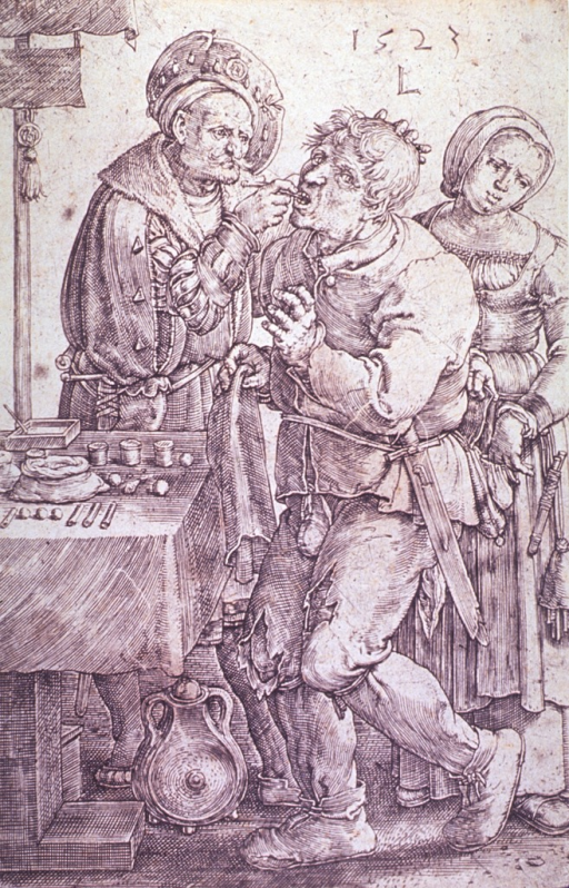 <p>A man, standing before an open-air dentist's shop, is having a tooth extracted by a public toothdrawer; a young woman is standing behind the patient picking his pocket. The dentist's tools are arranged on a table.</p>