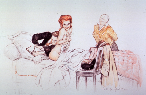 <p>An attractive, naked, young woman patient sits up in bed while a physician performs a direct or immediate auscultation.  Another woman stands next to the bed.</p>