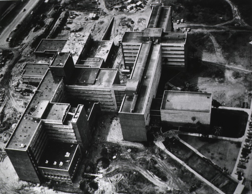 <p>Exterior view: aerial view of the Center under construction.</p>