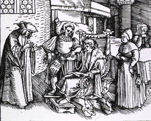 <p>Bedroom scene: a physician is taking the pulse of a man sitting in an ornately carved chair; a priest stands before them, and two women stand to the right on either side of a bed under which is a chamber pot.</p>