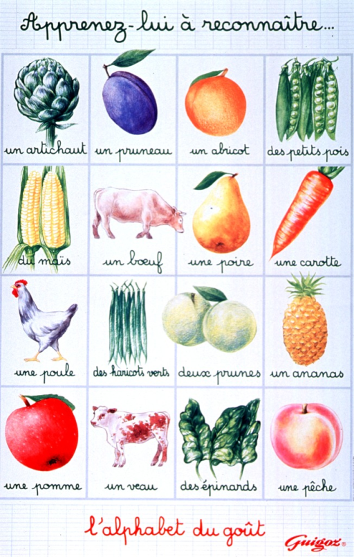 <p>White poster with light gray grid in background and red and green lettering.  Initial title words at top of poster.  Visual image is a four-by-four array of illustrations of different foods.  Fruits and vegetables dominate the array.  Remaining title words below array.  Publisher logo in lower right corner.</p>