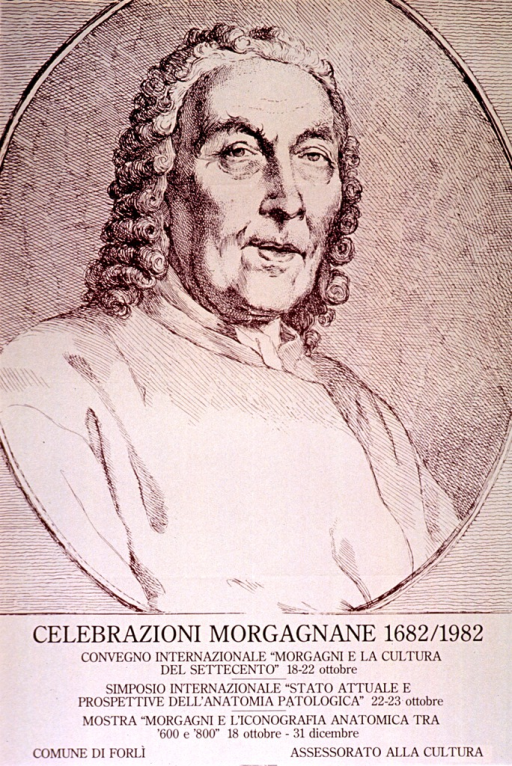 <p>Predominantly tan poster with brown lettering.  Upper portion of poster features a reproduction of a portrait of Morgagni, an Italian anatomist.  Title below portrait.  Details for two meetings and an exhibit devoted to Morgagni given below title.  Publisher information at bottom of poster.</p>